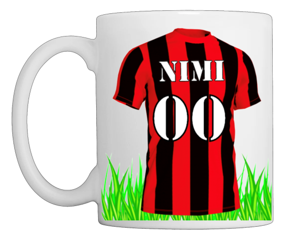 Jalkapallo muki,  musta punainen pelipaita numerolla ja nimellä